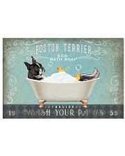 CUTE BOSTON TERRIER PUPPY ON BATHROOM 17x11 Poster front