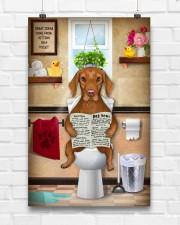 VIZSLA PUPPY SITTING ON A TOILET 11x17 Poster aos-poster-portrait-11x17-lifestyle-17