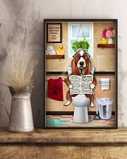 BASSET HOUND PUPPY SITTING ON A TOILET 11x17 Poster lifestyle-poster-3