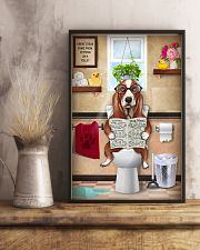 BASSET HOUND PUPPY ON THE TOILET 11x17 Poster lifestyle-poster-3