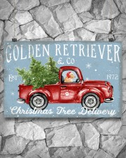 GOLDEN RETRIEVER DOG RED TRUCK CHRISTMAS 17x11 Poster aos-poster-landscape-17x11-lifestyle-13