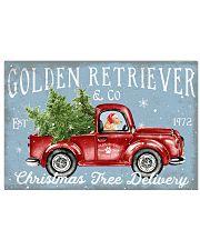 GOLDEN RETRIEVER DOG RED TRUCK CHRISTMAS 17x11 Poster front