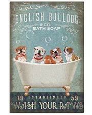 FUNNY BULLDOG PUPPY SITTING ON BATH TUB 11x17 Poster front