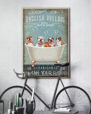 FUNNY BULLDOG PUPPY SITTING ON BATH TUB 11x17 Poster lifestyle-poster-7