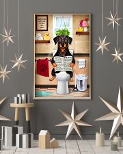 FUNNY DOBERMAN PUPPY SITTING ON A TOILET 11x17 Poster lifestyle-holiday-poster-1