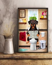 FUNNY DOBERMAN PUPPY SITTING ON A TOILET 11x17 Poster lifestyle-poster-3