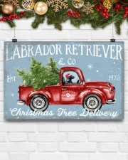 BLACK LABRADOR DOG RED TRUCK CHRISTMAS 17x11 Poster aos-poster-landscape-17x11-lifestyle-28
