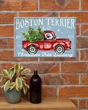 BOSTON TERRIER DOG RED TRUCK CHRISTMAS 17x11 Poster poster-landscape-17x11-lifestyle-23