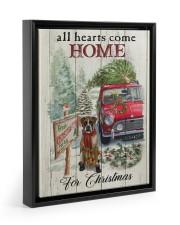 BOXER DOG ALL HEARTS COME HOME FOR CHRISTMAS Floating Framed Canvas Prints Black tile