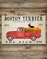 BOSTON TERRIER RED TRUCK PUMPKIN FARM 17x11 Poster poster-landscape-17x11-lifestyle-14