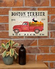 BOSTON TERRIER RED TRUCK PUMPKIN FARM 17x11 Poster poster-landscape-17x11-lifestyle-23