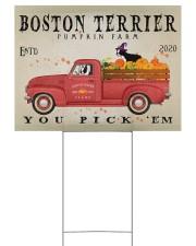 BOSTON TERRIER RED TRUCK PUMPKIN FARM Yard Signs tile