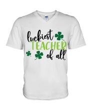 LUCKIEST TEACHER OF ALL V-Neck T-Shirt thumbnail