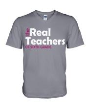 THE REAL TEACHERS OF SIXTH GRADE V-Neck T-Shirt thumbnail