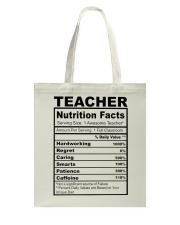TEACHER NUTRITION FACTS Tote Bag thumbnail