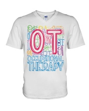 OCCUPATIONAL THERAPY TYPOGRAPHIC  V-Neck T-Shirt thumbnail