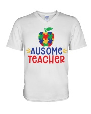 AUSOME TEACHER V-Neck T-Shirt thumbnail