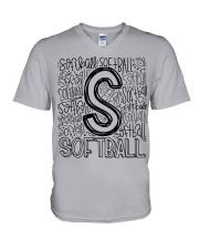 SOFTBALL TYPOGRAPHY V-Neck T-Shirt thumbnail