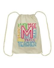 MUSIC TEACHER TYPOGRAPHIC  Drawstring Bag thumbnail