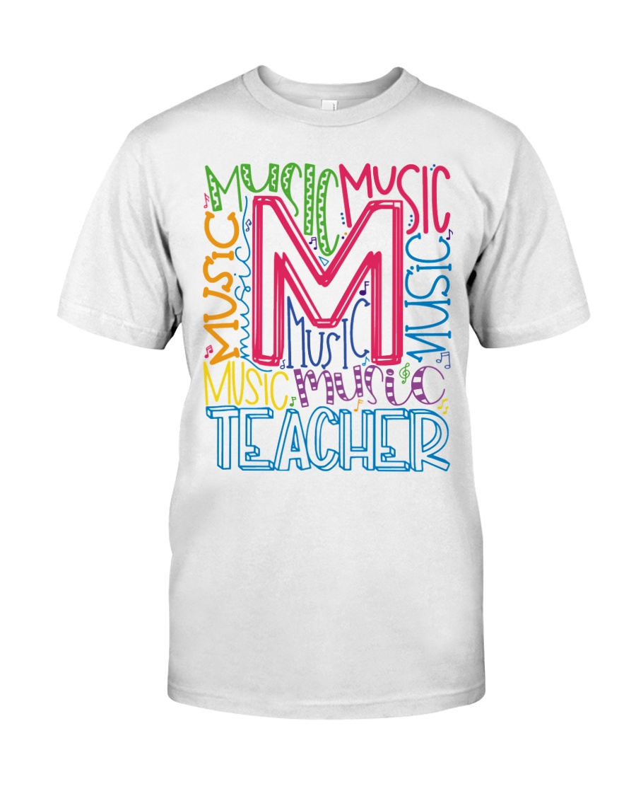 MUSIC TEACHER TYPOGRAPHIC  Classic T-Shirt