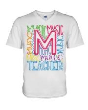MUSIC TEACHER TYPOGRAPHIC  V-Neck T-Shirt thumbnail