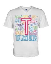 TEACHER TYPOGRAPHIC  V-Neck T-Shirt thumbnail