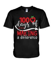 100 DAYS MAKING DIFFERENCE V-Neck T-Shirt thumbnail