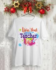 LIVING LIKE PRE-K TEACHER Classic T-Shirt lifestyle-holiday-crewneck-front-2