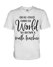 MATH TEACHER CHANGE THE WORLD V-Neck T-Shirt thumbnail