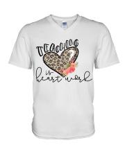 TEACHING IS HEART WORK V-Neck T-Shirt thumbnail