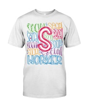 SOCIAL WORKER TYPOGRAPHIC DESIGN Classic T-Shirt thumbnail
