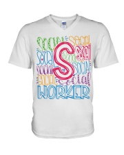 SOCIAL WORKER TYPOGRAPHIC DESIGN V-Neck T-Shirt thumbnail