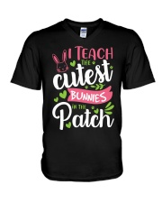I TEACH THE CUTEST BUNNIES IN THE PATCH V-Neck T-Shirt tile