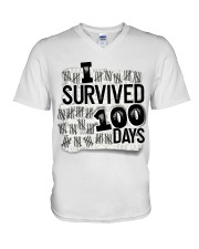 I SURVIDED 100 DAYS V-Neck T-Shirt thumbnail