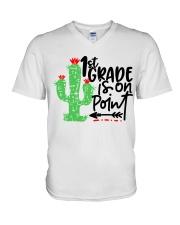 1ST GRADE IS ON POINT V-Neck T-Shirt thumbnail