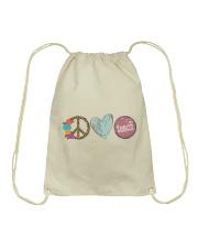 PEACE LOVE TEACH Drawstring Bag thumbnail