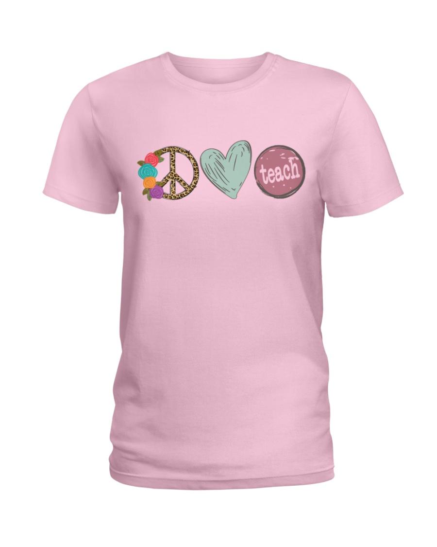 PEACE LOVE TEACH Ladies T-Shirt