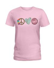 PEACE LOVE TEACH Ladies T-Shirt front