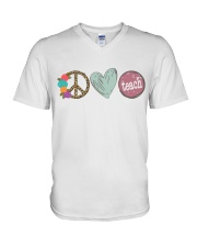 PEACE LOVE TEACH V-Neck T-Shirt thumbnail