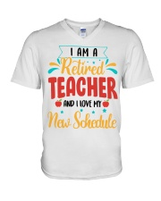 I AM A RETIRED TEACHER AND I LOVE MY NEW SCHEDULE V-Neck T-Shirt thumbnail