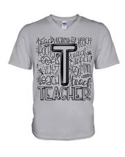 TEACHER TYPOGRAPHY DESIGN V-Neck T-Shirt thumbnail