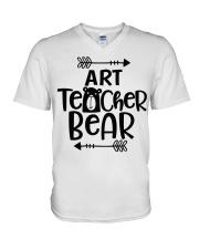 ART TEACHER BEAR V-Neck T-Shirt thumbnail