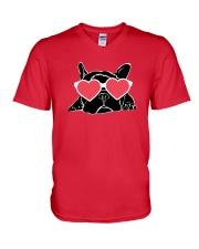 Boston Terrier Heart Eyes V-Neck T-Shirt front