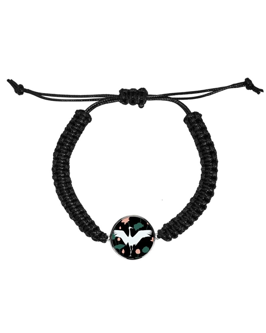 Japanese White Crane Cord Circle Bracelet