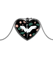 Japanese White Crane Metallic Heart Necklace thumbnail