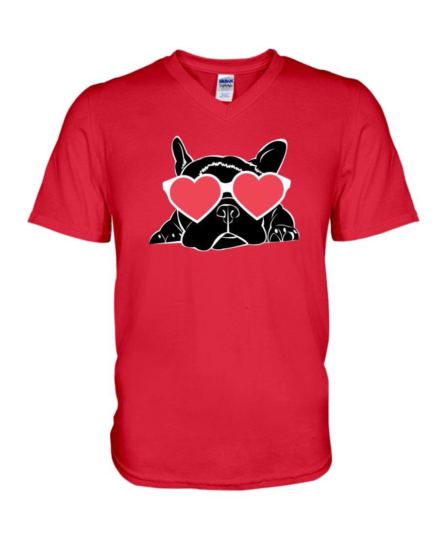 Boston Terrier Heart Eyes V-Neck T-Shirt