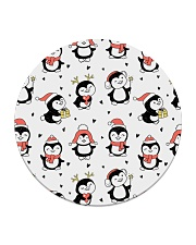 Cute Christmas Penguins Circle Coaster thumbnail
