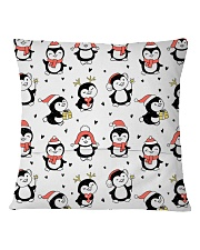 Cute Christmas Penguins Square Pillowcase back