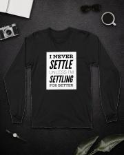 Never settle black tee Long Sleeve Tee lifestyle-unisex-longsleeve-front-5