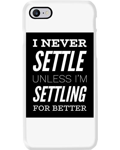 Never settle white tee